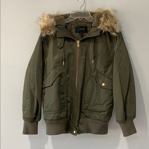 J. Crew Bomber Jacket with Faux Fur Hood